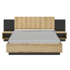 GAMI Lit 160x200 cm avec tête de lit et chevets intégrés MEZOS
