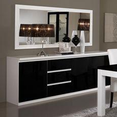 Buffet L220cm, 3 portes 3 tiroirs GENOVA, bicolore ( blanc-noir)