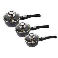 Set de 3 casseroles induction 9 pièces fonte d'aluminium amovible