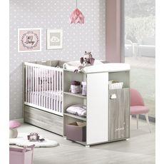 BABY PRICE Lit bébé combiné 120x60 cm évolutif en 90x190 cm HAPPY, Chêne Silex