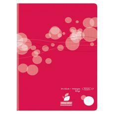 AUCHAN Cahier piqué polypro 24x32cm 48 pages grands carreaux Seyes rouge motif ronds