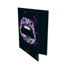Chemise cartonnée à élastiques 3 rabats Lips 24x32cm noir lèvres avec motif papillons