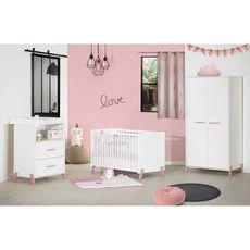 BABY PRICE  Lit bébé sommier réglable 60x120cm JOY coloris rose