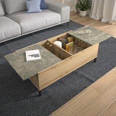 GAMI Table basse avec plateaux coulissants et 2 coffres de rangement BOX