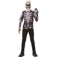 RUBIES Panoplie déguisement top + cagoule + gourde du brave Skull Trooper taille 9/10 ans - Fortnite