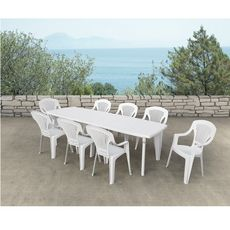 ARETA Table de jardin extensible 180/250x90x72cm résine blanc LIPARI 2