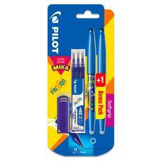 Lot de 2 stylos rollers effaçables Frixion ball Bleu + 3 recharges bleues + 1 gomme Edition Mika