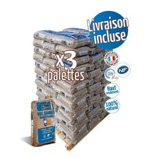 WOODSTOCK 3 Palettes de granulés de bois - 66 sacs de 15 kg