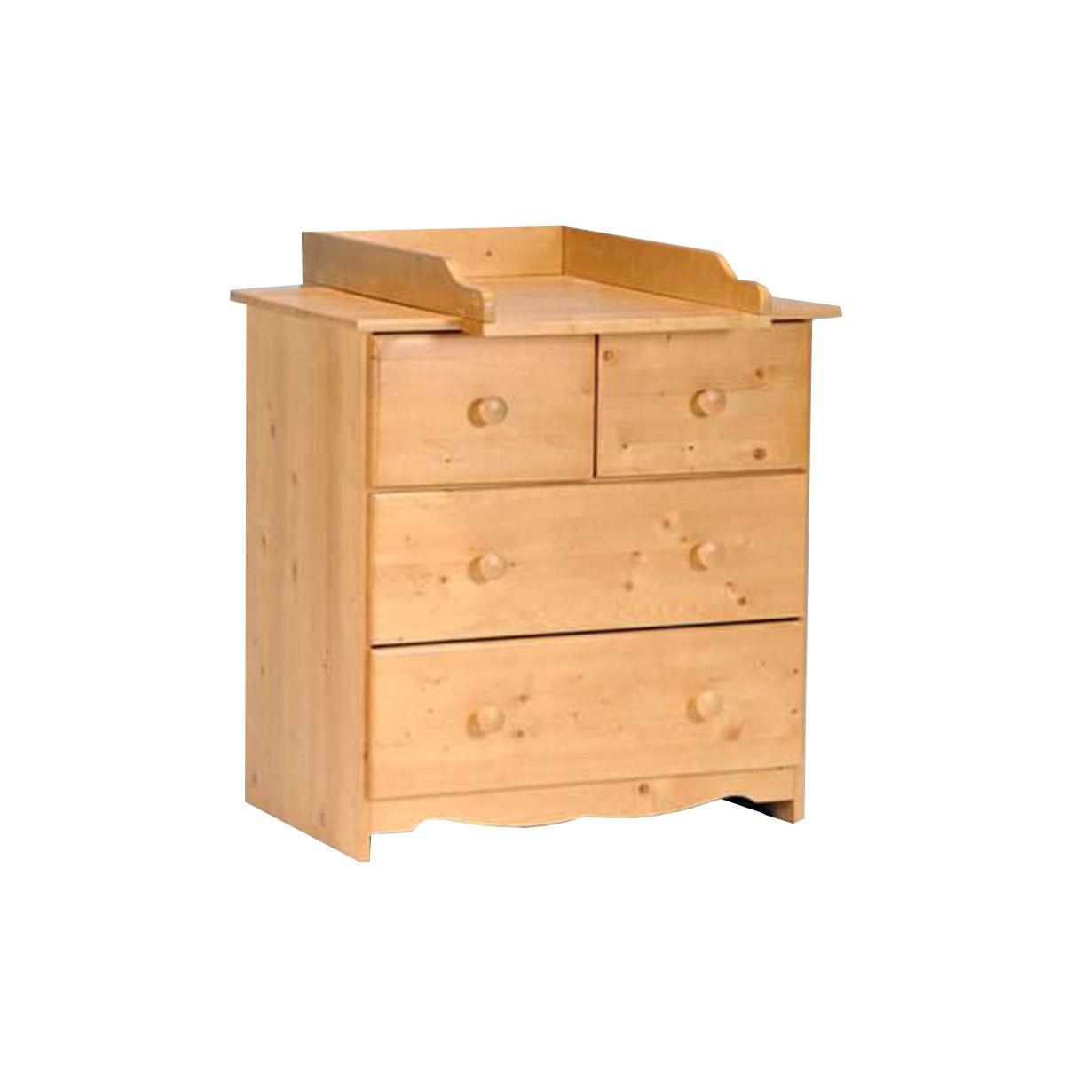 Commode + plan à langer amovible ROMANCE en bois massif