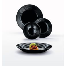LUMINARC Service d'assiettes 18 pièces en verre HARENA Noir