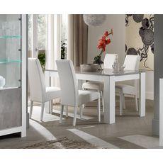 Table de séjour moderne laquée brillante bicolore L190cm MILANO