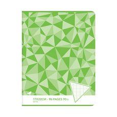 AUCHAN Cahier piqué 17x22cm 96 pages grands carreaux Seyes vert motif triangles
