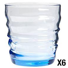 BORMIOLI ROCCO Lot de 6 verres à eau RIFLESSI ACQUA Saphire Blue