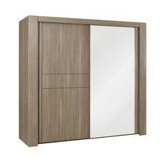 GAMI Armoire 2 portes coulissante avec miroir L250cm ALLIANCE (Chêne fusain)