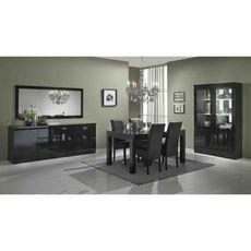 Buffet L220cm, 3 portes 3 tiroirs GENOVA (noir)