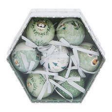 ACTUEL  Boîte boules en papier décorées grises x7 thème nature 7 pièces