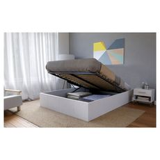 Lit coffre adulte 140 x 190 cm + sommier TIVOLI (Blanc)
