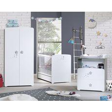 BABY PRICE Ensemble Lit bébé 60x120 cm + tiroir +commode à langer + armoire PILOU