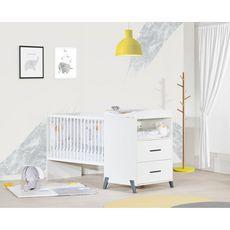 BABY PRICE  Lit bébé combiné 120x60 évolutif en 90x190cm JOY coloris gris
