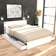 Lit 140 x 190 cm avec tête étagère et 2 tiroirs lit  ALGA (Blanc)