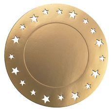 Sous assiettes or 34cm motif étoile x4 4 pièces
