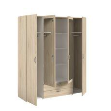 Armoire 4 portes 2 tiroirs 1 miroir L160cm DAISY (Chêne)