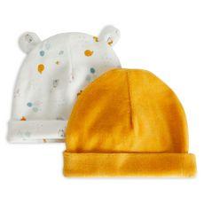IN EXTENSO Lot de 2 bonnets velours de naissance bébé garçon