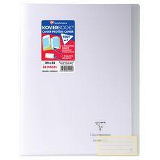 CLAIREFONTAINE Cahier piqué polypro Koverbook 24x32cm 48 pages grands carreaux transparent