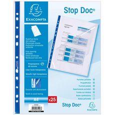 EXACOMPTA  Lot de 25 pochettes perforées lisses hautes transparences A4 ouverture facile