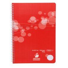 AUCHAN Cahier polypro 21x29,7cm 100 pages grands carreaux Seyes à spirale rouge motif ronds