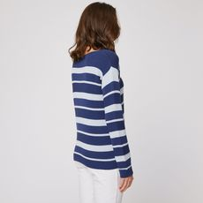IN EXTENSO Pull manches longues col bateau à rayures bleu femme (Bleu)