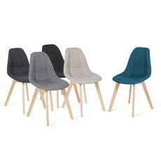 Lot de 4 chaises assise tissu pieds bois massif ORNELLA (Gris clair)