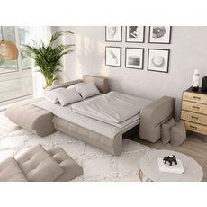 Canapé d'angle gauche convertible CLELIA, 4 places, tissu beige (Beige)