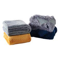 Plaid uni en polyester flanelle DOUDOU  (Ocre)