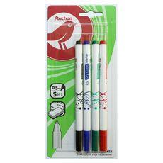 AUCHAN Lot de 4 marqueurs pour tableau blanc effaçables pointes moyennes noir bleu vert rouge