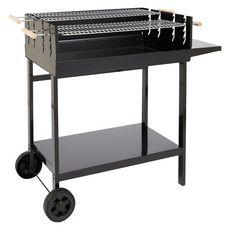 GARDENSTAR Barbecue charbon de bois rectangulaire 100x60cm TROLLEY