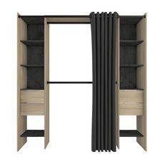 Kit placart 2 colonnes, 2 penderies, 4 tiroirs NADA (Chêne/noir)