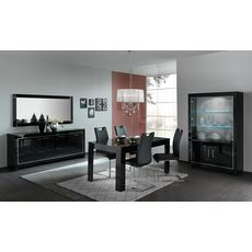 Miroir de séjour salle à manger design laqué brillant L140cm MILANO (Noir)