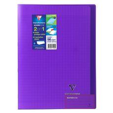 CLAIREFONTAINE Cahier piqué polypro Koverbook 21x29,7cm 96 pages grands carreaux Seyes violet