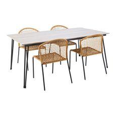 GARDENSTAR  Table de jardin 180x100 cm acier/alu plateau imitation Bois  ANTIBE