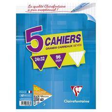 CLAIREFONTAINE Lot de 5 cahiers piqués 24x32cm 96 pages grands carreaux Seyes coloris assortis