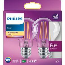 PHILIPS Ampoule LED E27 classique 60W - Blanc chaud