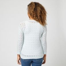 IN EXTENSO Pull manches longues col rond blanc femme (Bleu pale)