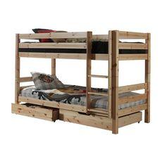 Lit superposé WOODY 90x200cm, séparables +tiroirs (Nature)