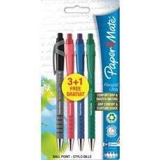 PAPER MATE Lot de 3+1 stylos bille Flexgrip elite - noir, bleu, rouge, vert