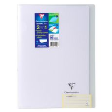 CLAIREFONTAINE Cahier piqué polypro Koverbook 21x29,7cm 96 pages grands carreaux Seyes blanc transparent