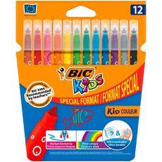 BIC Etui de 12 feutres de coloriage pointe moyenne KID COULEUR