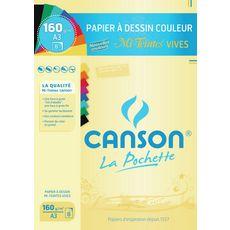 CANSON  Pochette de papier à dessin 8 feuilles 29.7x42cm 160g/m2 couleurs vives