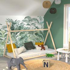 Lit cabane enfant  90 x 190 cm avec sommier APACHE