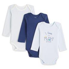 IN EXTENSO Lot de 3 bodies manches longues bébé garçon (Bleu)